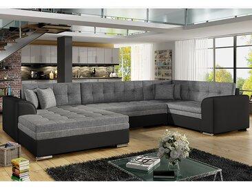 Canapé d'angle convertible gris et noir VEGA