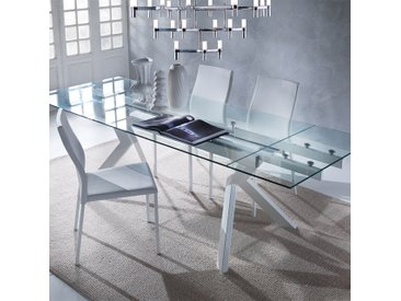 Table en verre extensible taupe design AURELIA