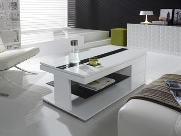 Table basse relevable blanc laqué design ELISA