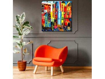 Peinture sur toile colorée Rue enchantée, 80x80