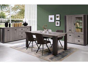 Salle a manger contemporaine complete couleur bois gris PIETRO