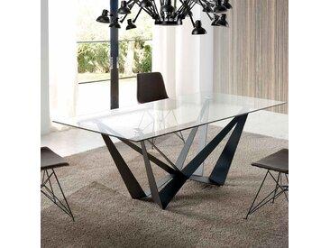 Table en verre design métal noir EROS