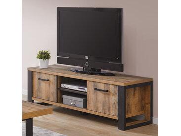 Banc TV industriel couleur bois foncé ONNIX