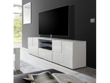 Grand meuble TV blanc laqué design SANDREA