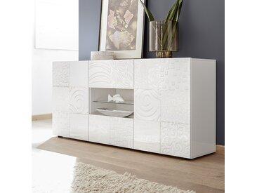 Buffet blanc laqué 180 cm design ELMA, sans éclairage