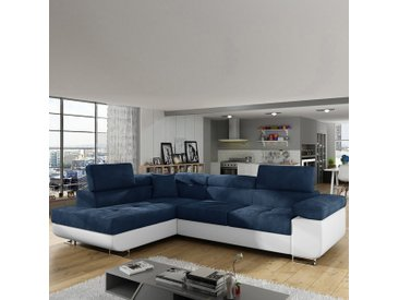 Canapé convertible angle gauche bleu et blanc WILLIS