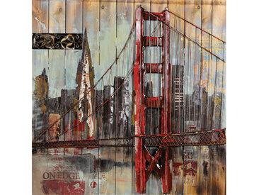 Tableau déco métal RED BRIDGE 100x100