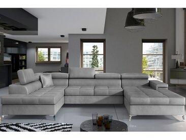Canapé panoramique convertible en tissu gris EDNA