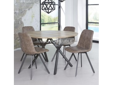 Table à manger ronde couleur bois NINE