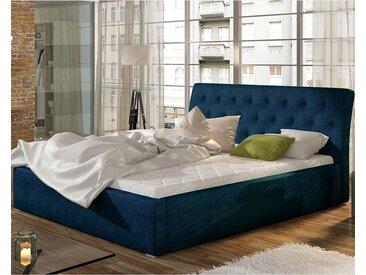 Lit coffre en tissu bleu 180x200 cm MILAS