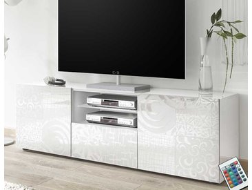 Grand meuble TV blanc laqué design ELMA