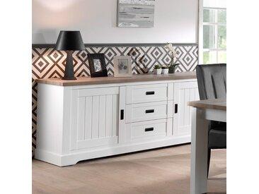 Buffet contemporain blanc et couleur bois clair ETHAN