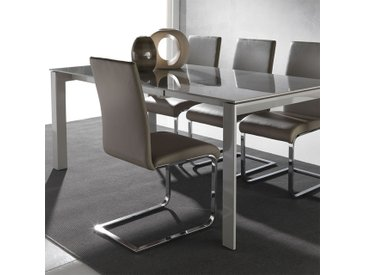 Table design en verre taupe extensible BELINO Option 1