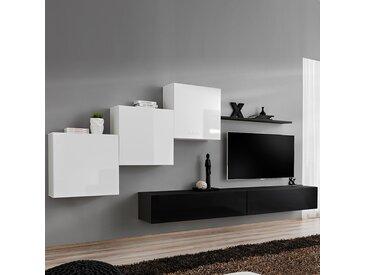 Meuble murale TV blanc et noir VIVARA