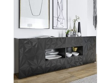 Enfilade design gris laqué 2 portes 4 tiroirs PAOLO 3