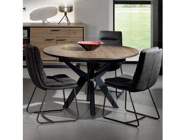 Table ronde extensible 130 cm couleur chêne foncé ESTELLE