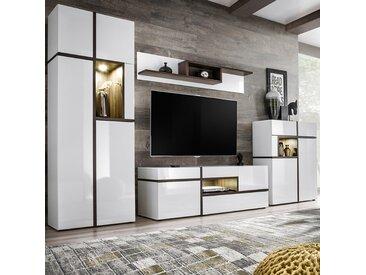 Ensemble TV led blanc et couleur bois STRUDA
