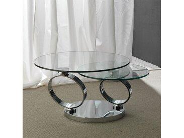 Table basse ronde en verre et acier ROSANA