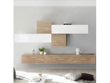 Ensemble meuble TV blanc laqué et couleur chêne PAPIANO