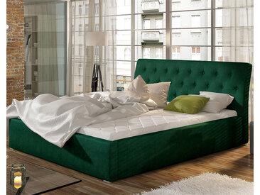 Lit coffre 200x200 cm en tissu vert MILAS