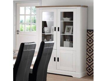 Vaisselier contemporain blanc et couleur bois ETHAN