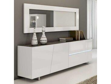 Enfilade design laqué blanc 200 cm LAUREA, 3 portes - 1 tiroir