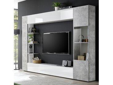 Meuble tv mural blanc et gris design FINO 2