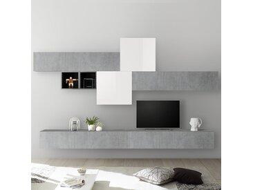 Mur TV design blanc laqué et gris béton PULSANO