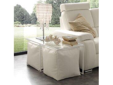 Table basse design en verre avec poufs MATHEO 2