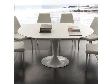 Table à manger ronde blanche avec rallonge CESARIO