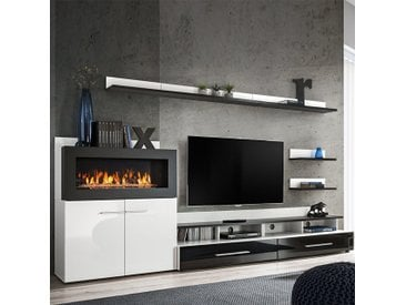 Meuble TV avec rangement et cheminée noir laqué MARTANO