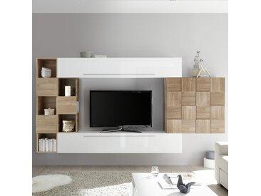 Ensemble télé suspendu blanc et couleur chêne clair ARDENZA