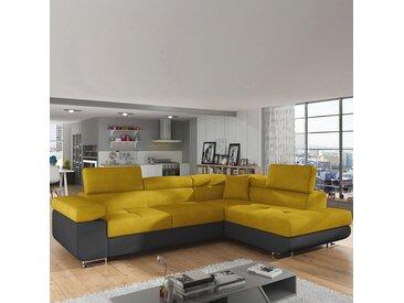 Canapé convertible angle à droite jaune et noir WILLIS