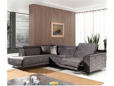 Canapé d'angle relax en tissu gris CARAMEL