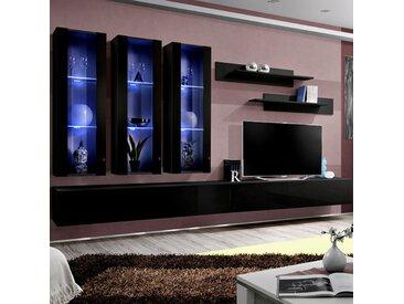 Ensemble meuble TV noir design PIAZZA