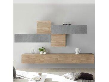 Mur TV design gris et couleur chêne PAPIANO