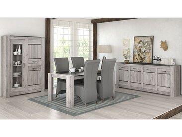 Salle à manger complète moderne couleur chêne gris CAMELIA