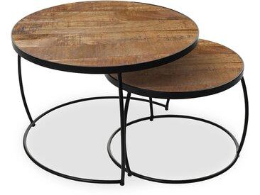 Table basse gigogne en bois et métal LARRY