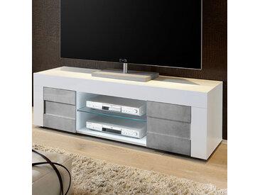 Banc TV blanc laqué et effet béton TUNIS 2