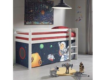 Lit enfant surélevé 90x200 cm en pin blanc avec une tente de jeu astronaute ZOE