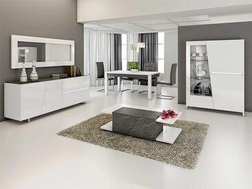 Salle à manger complète gris béton et blanc LAUREA