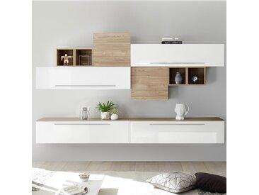Meuble mural blanc et couleur bois clair LUCRECIA