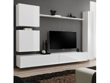 Ensemble meuble TV suspendu blanc LATIANO 3