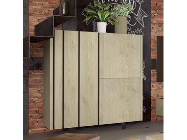 Argentier industriel couleur bois et effet béton KARA