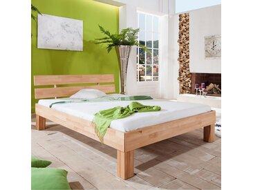 Lit contemporain 180x200 cm en bois massif hêtre huilé GABRIELLA