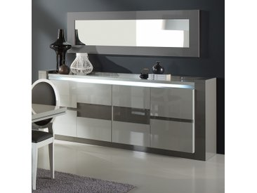 Enfilade 215 cm lumineux blanc et gris laqué RIMIO