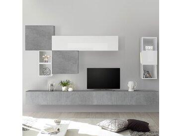 Meuble TV mural blanc et gris clair ROVIGO