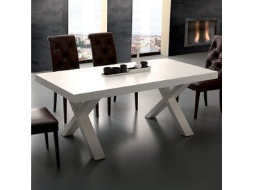 Table à manger extensible design blanc LENA