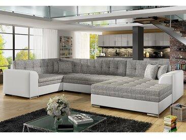 Canapé d'angle convertible gris et blanc VEGA 2