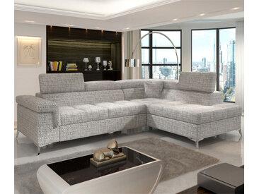 Canapé lit angle droite en tissu gris FERIDA